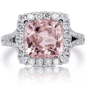 5 CARAT PINK TOPAZ CZ DIAMOND HALO ENGAGEMENT RING